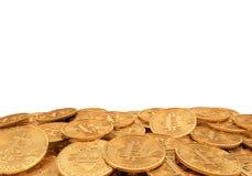 Guld- bitcoin, tolkning 3D Royaltyfria Bilder