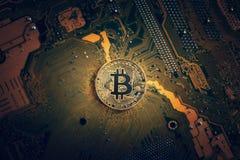 Guld- bitcoincryptocurrency på boa för elektronisk strömkrets för dator Fotografering för Bildbyråer