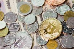 Guld- bitcoincryptocurrencyera av digital valuta Royaltyfri Bild