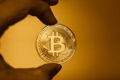 Guld- bitcoincryptocurrencyera av digitalt Fotografering för Bildbyråer