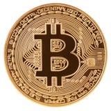 Guld- bitcoincryptocurrencymynt som isoleras på vit bakgrund Arkivbild