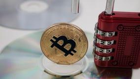 Guld- bitcoinmynt Royaltyfri Foto
