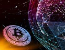 Guld- bitcoinmynt i brandflamma Begrepp för gaffel Bitcoin för guld- blockchain hårt Cryptocurrency symbol med jämliket som plira royaltyfri illustrationer