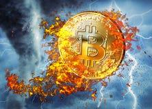 Guld- bitcoinmyntflyg i brandflamma Brinnande crypto illustration f?r valutabitcoinsymbol som isoleras p? svart bakgrund 3d ren royaltyfri illustrationer