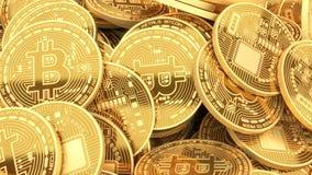 Guld- bitcoinscryptocurrency som bryter begreppsbakgrund Fotografering för Bildbyråer