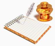 Guld- bläckhorn och anteckningsbok royaltyfri illustrationer