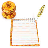 Guld- bläckhorn och anteckningsbok stock illustrationer