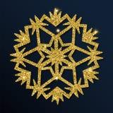 Guld- blänka den behagfulla snöflingan Vektor Illustrationer