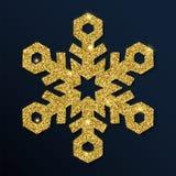 Guld- blänka den behagliga snöflingan Stock Illustrationer