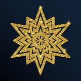 Guld- blänka den beundransvärda snöflingan Royaltyfri Illustrationer
