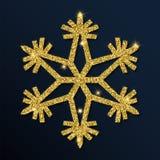 Guld- blänka den enorma snöflingan Royaltyfri Illustrationer