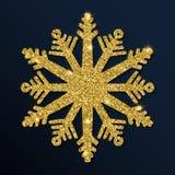 Guld- blänka den fängslande snöflingan Stock Illustrationer