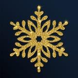 Guld- blänka den förtjusande snöflingan Royaltyfri Illustrationer