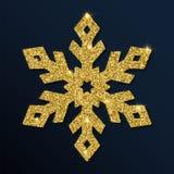 Guld- blänka den förträffliga snöflingan Vektor Illustrationer