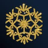 Guld- blänka den fina snöflingan Stock Illustrationer