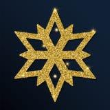 Guld- blänka den ganska snöflingan Vektor Illustrationer