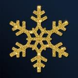 Guld- blänka den glamorösa snöflingan Vektor Illustrationer
