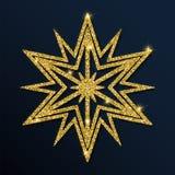 Guld- blänka den gulliga snöflingan Stock Illustrationer