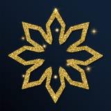 Guld- blänka den ideala snöflingan Stock Illustrationer
