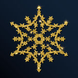 Guld- blänka den intressanta snöflingan Arkivbild