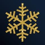 Guld- blänka den nätta snöflingan Stock Illustrationer