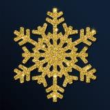 Guld- blänka den propra snöflingan Stock Illustrationer