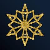 Guld- blänka den snygga snöflingan Vektor Illustrationer
