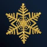 Guld- blänka den snygga snöflingan Royaltyfri Illustrationer