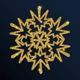 Guld- blänka den stora snöflingan Royaltyfri Illustrationer