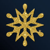 Guld- blänka den symmetriska snöflingan Royaltyfri Illustrationer