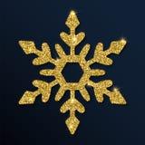 Guld- blänka den tilltalande snöflingan Vektor Illustrationer