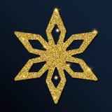 Guld- blänka den trevliga snöflingan Royaltyfri Illustrationer