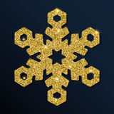 Guld- blänka den underbara snöflingan Royaltyfri Illustrationer