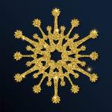Guld- blänka den unika snöflingan Royaltyfri Illustrationer