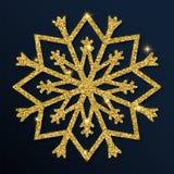 Guld- blänka den utmärkta snöflingan Royaltyfri Illustrationer