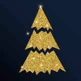Guld- blänka det älskvärda julträdet Stock Illustrationer