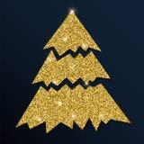 Guld- blänka det behagfulla julträdet Stock Illustrationer