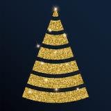 Guld- blänka det behagliga julträdet Stock Illustrationer