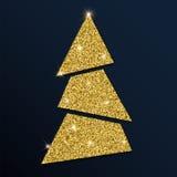 Guld- blänka det charmiga julträdet Stock Illustrationer