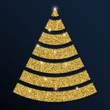 Guld- blänka det förträffliga julträdet Royaltyfri Illustrationer