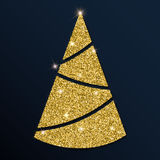Guld- blänka det fina julträdet Royaltyfri Illustrationer