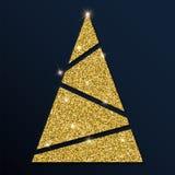 Guld- blänka det gulliga julträdet Stock Illustrationer