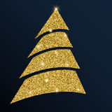 Guld- blänka det snygga julträdet Vektor Illustrationer