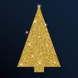 Guld- blänka det unika julträdet Stock Illustrationer