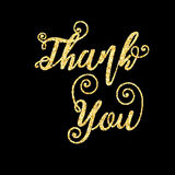Guld- blänka ord tackar dig på svart bakgrund, mall royaltyfri illustrationer