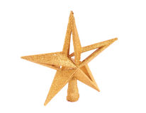 Guld- blänka stjärna formad julprydnad mig Arkivfoton