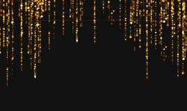 Guld- blänka stjärnor för gnistranderombpartiklar från överkant på svart royaltyfri illustrationer