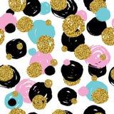 Guld- blänka textur med handattraktionsvart, rosa färgen, blåttcirklar Fotografering för Bildbyråer