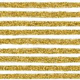 Guld- blänka texturlinjen på sömlös modell för vit bakgrund Royaltyfri Fotografi