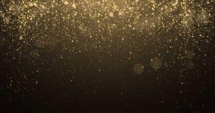 Guld blänker bakgrund med effekt för konfettier för gnistrandeskenljus Lysande blänka ljus bakgrund för signalljussamkopieringssv